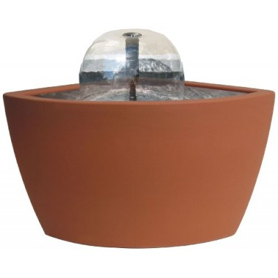 Algreen Hampton Contemporary Terra Cotta Water Feature and Pond, 35-Gallon