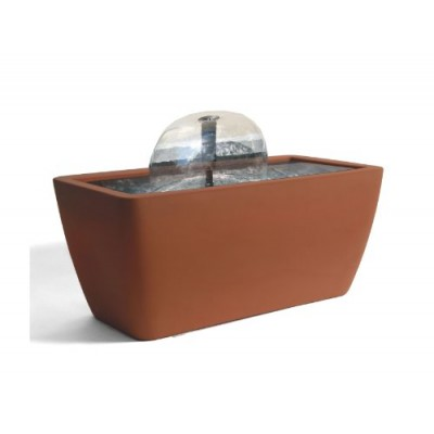Algreen Manhattan Contemporary Terra Cotta Water Feature and Pond, 50-Gallon
