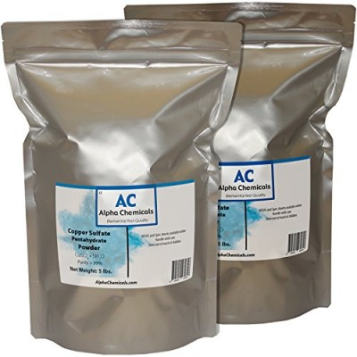 Alpha Chemicals Copper Sulfate Pentahydrate - 25.2% Cu - 10 Pounds - Easy to Dissolve - Powder