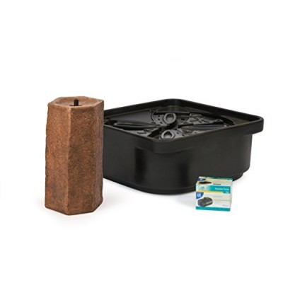 Atlantic Water Gardens Basalt Column Fountain Kit with Pump and Basin, 16-Inch