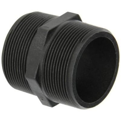 "Banjo NIP200-SH Polypropylene Pipe Fitting, Short Nipple, Schedule 80, 2"" NPT Male, 2-1/2 Length"