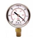 "2"" Oil Filled Vacuum Pressure Gauge - SS/Br 1/4"" NPT Lower Mount, 30HG/0PSI"
