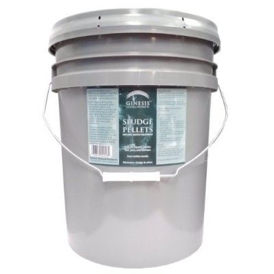 25 pound pail of Ginesis Sludge Pellets - Natural Water Treatment for Water Gardens, Gof Course ponds, Fish Ponds, Ornamental Ponds, Koi Ponds, and...