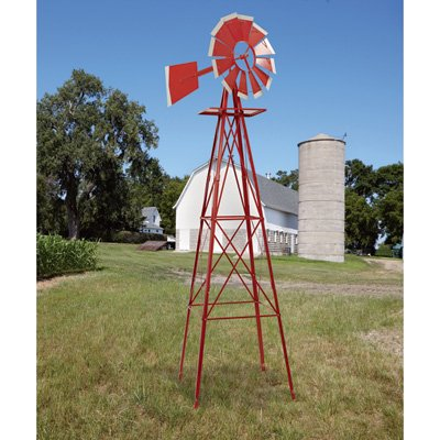 8ft. Ornamental Garden Windmill - Red and White