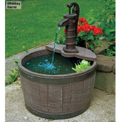 Little Giant 566740 Whiskey Barrel Classical Fountain, Weather Wood