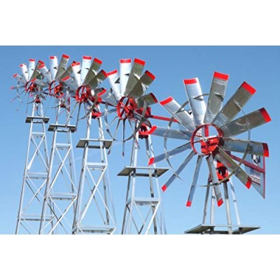 18' Windmill Aerator System   American Eagle   Pond Aeration Wind Mill System Kit   Strong 4 Leg Tower