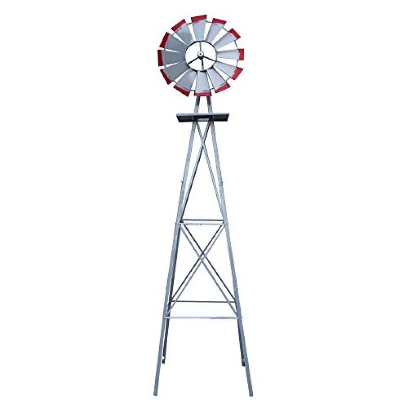 Nova Microdermabrasion 8u0027 Ornametal Steel Windmill Yard Garden Wind Mill Weather  Vane Weather Resistant (Silver)