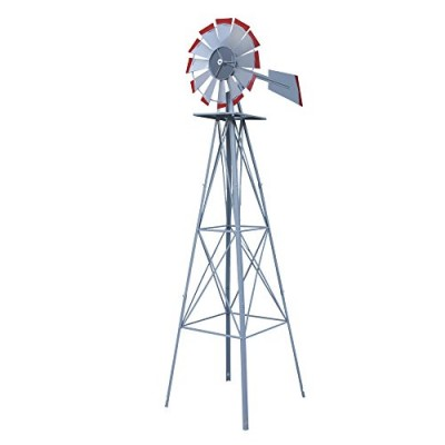 Nova Microdermabrasion 8' Ornametal Steel Windmill Yard Garden Wind Mill Weather Vane Weather Resistant (Silver)