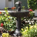 Smart Solar 20336R01 Umbrella Series Solar Fountain, Boy and Girl Riding Piggyback