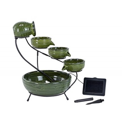 Smart Solar 23931R01 Ceramic Solar Cascading Fountain, Glazed Green Bamboo Design