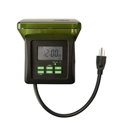 Woods 50015WD Outdoor 7-Day Heavy Duty Digital Plug-in Timer, 2 Grounded Outlets, Weatherproof, Perfect for Automating Holiday/Christmas Lights, 3/...